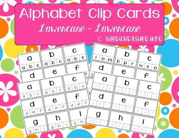 Alphabet Recognition Clip Cards | Lowercase - Lowercase | Matching