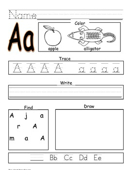 Alphabet Recognition, Writing, and Sound Practice
