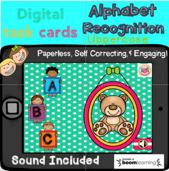 Alphabet Recognition (Uppercase) Digital Task Cards (Boom Cards)