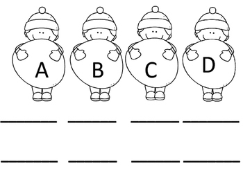 Alphabet Recording Sheet/Snowball Theme