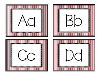 Alphabet - Red and White Striped Labels
