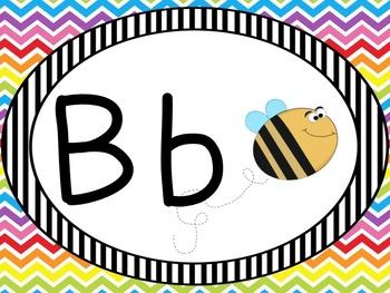 Alphabet Review PowerPoint in Rainbow