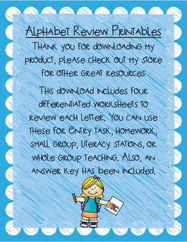 Alphabet Review Printables