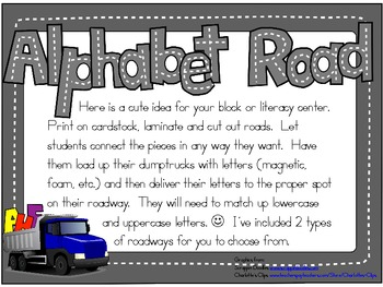 Alphabet Road Block/Literacy Center Game:  Uppercase/Lowercase letter matching
