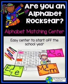 Alphabet Matching Center: Rockstar Theme in English and Spanish