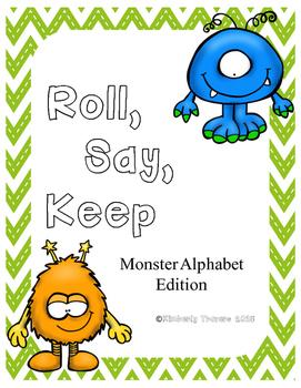 Alphabet Roll, Say, Keep: Monster Edition
