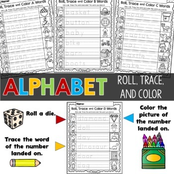 Alphabet Roll, Trace and Color