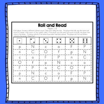 Alphabet Letters and Sounds Roll and Read