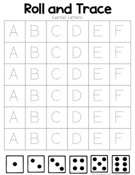 Alphabet Roll and Trace- Dice game- Center Activity