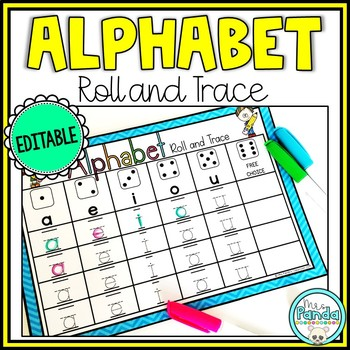 Alphabet Recognition Activity - Roll and Trace Letters {Editable}