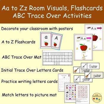 Alphabet Room Visuals/Charts, a-z cards, Aa-Zz dotted letters, Clipart