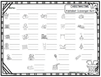 Alphabet Scavenger Hunt Christmas By Differentiation