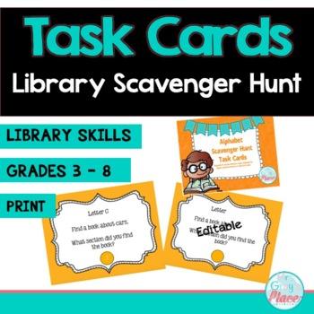 Alphabet Scavenger Hunt Task Cards (Library Skills)