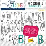 Alphabet Scribble Doodle Letter Clipart Set