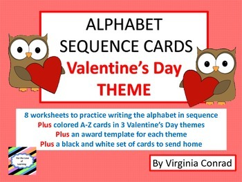 Alphabet Sequence Center and Worksheets--Valentine's Day Theme