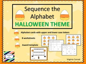 Alphabet Sequence Halloween Theme (ABC cards and worksheets)