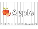 Alphabet Sequence Spelling Puzzle.  Spell Apple. Preschool learning game