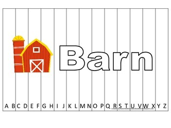 Alphabet Sequence Spelling Puzzle.  Spell Barn. Preschool learning game