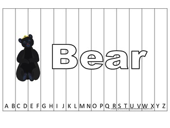 Alphabet Sequence Spelling Puzzle.  Spell Bear. Preschool learning game