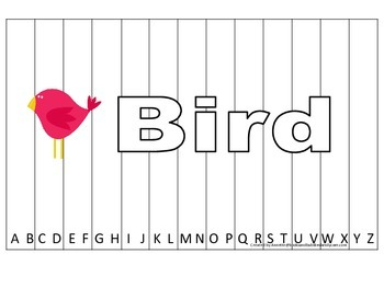 Alphabet Sequence Spelling Puzzle.  Spell Bird. Preschool learning game