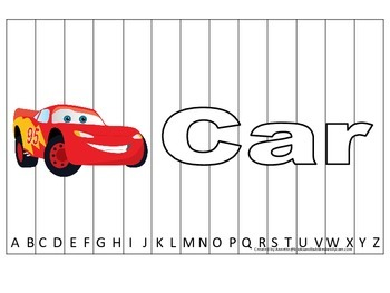 Alphabet Sequence Spelling Puzzle.  Spell Car. Preschool learning game