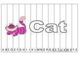 Alphabet Sequence Spelling Puzzle.  Spell Cat. Preschool learning game