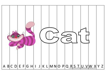 Alphabet Sequence Spelling Puzzle.  Spell Cat. Preschool l