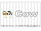 Alphabet Sequence Spelling Puzzle.  Spell Cow. Preschool learning game