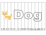 Alphabet Sequence Spelling Puzzle.  Spell Dog. Preschool learning game