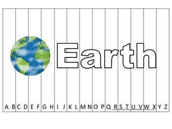 Alphabet Sequence Spelling Puzzle.  Spell Earth. Preschool learning game
