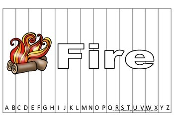 Alphabet Sequence Spelling Puzzle.  Spell Fire. Preschool learning game