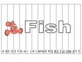 Alphabet Sequence Spelling Puzzle.  Spell Fish. Preschool learning game