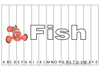 Alphabet Sequence Spelling Puzzle.  Spell Fish. Preschool