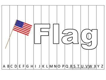 Alphabet Sequence Spelling Puzzle.  Spell Flag. Preschool learning game