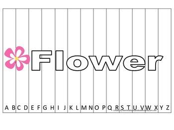 Alphabet Sequence Spelling Puzzle.  Spell Flower. Preschoo