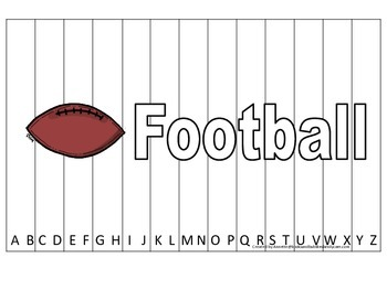 Alphabet Sequence Spelling Puzzle.  Spell Football. Preschool learning game