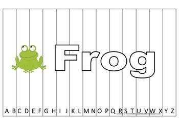 Alphabet Sequence Spelling Puzzle.  Spell Frog. Preschool