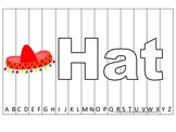 Alphabet Sequence Spelling Puzzle.  Spell Hat. Preschool learning game