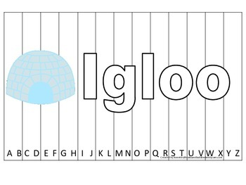 Alphabet Sequence Spelling Puzzle.  Spell Igloo. Preschool learning game.