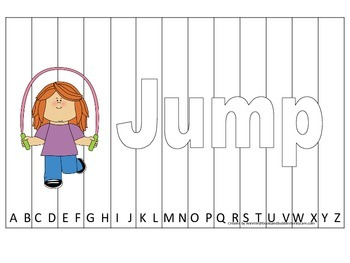 Alphabet Sequence Spelling Puzzle.  Spell Jump. Preschool learning game.