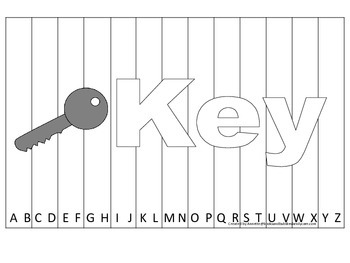 Alphabet Sequence Spelling Puzzle.  Spell Key. Preschool learning game.
