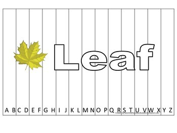 Alphabet Sequence Spelling Puzzle.  Spell Leaf. Preschool learning game.