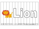 Alphabet Sequence Spelling Puzzle.  Spell Lion. Preschool learning game.