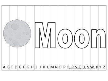 Alphabet Sequence Spelling Puzzle.  Spell Moon. Preschool learning game.