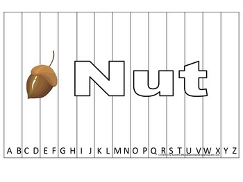 Alphabet Sequence Spelling Puzzle.  Spell Nut. Preschool learning game.
