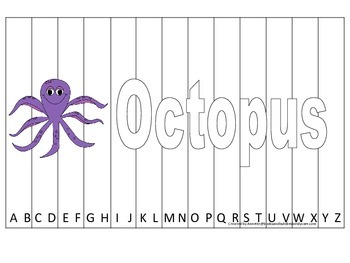 Alphabet Sequence Spelling Puzzle.  Spell Octopus. Preschool learning game.
