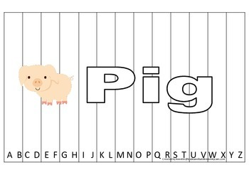 Alphabet Sequence Spelling Puzzle.  Spell Pig. Preschool learning game.