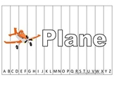 Alphabet Sequence Spelling Puzzle.  Spell Plane. Preschool learning game.