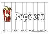 Alphabet Sequence Spelling Puzzle.  Spell Popcorn. Preschool learning game.