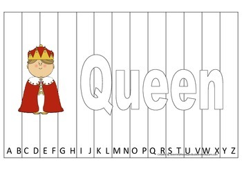Alphabet Sequence Spelling Puzzle.  Spell Queen. Preschool learning game.